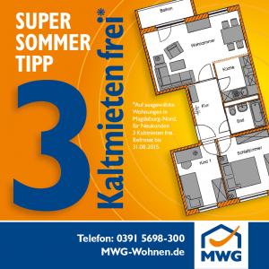 3 Kaltmieten sparen - noch bis 31.08.2015